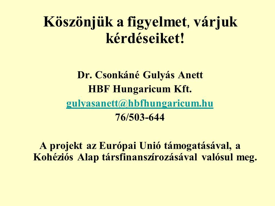 Köszönjük a figyelmet, várjuk kérdéseiket! Dr. Csonkáné Gulyás Anett