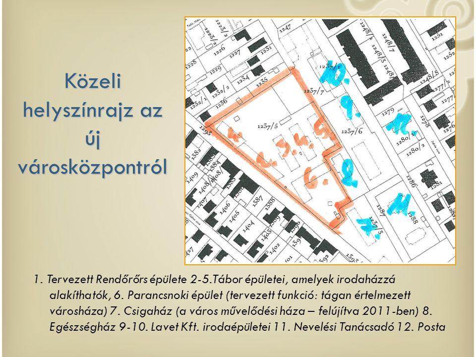 Közeli helyszínrajz az új városközpontról