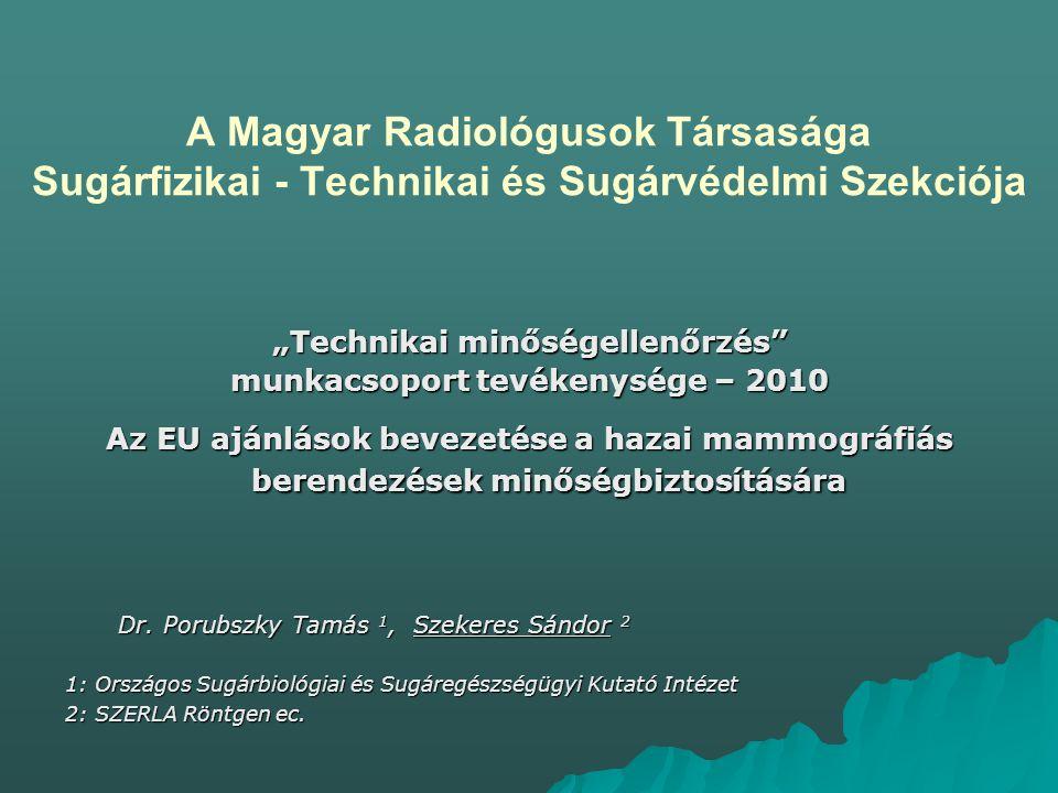 """""""Technikai minőségellenőrzés munkacsoport tevékenysége – 2010"""