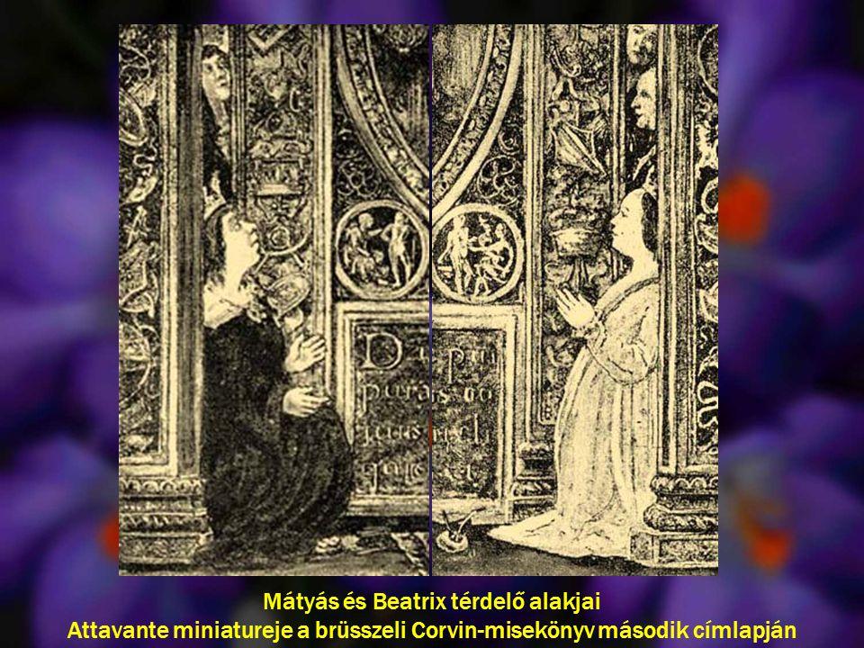 Mátyás és Beatrix térdelő alakjai Attavante miniatureje a brüsszeli Corvin-misekönyv második címlapján