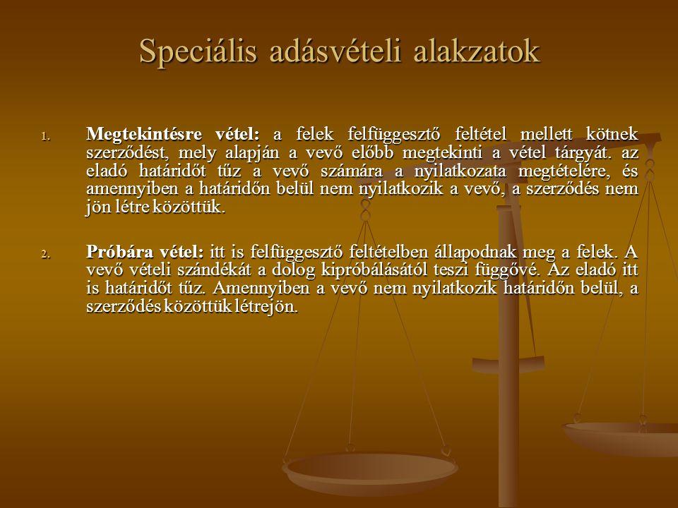 Speciális adásvételi alakzatok