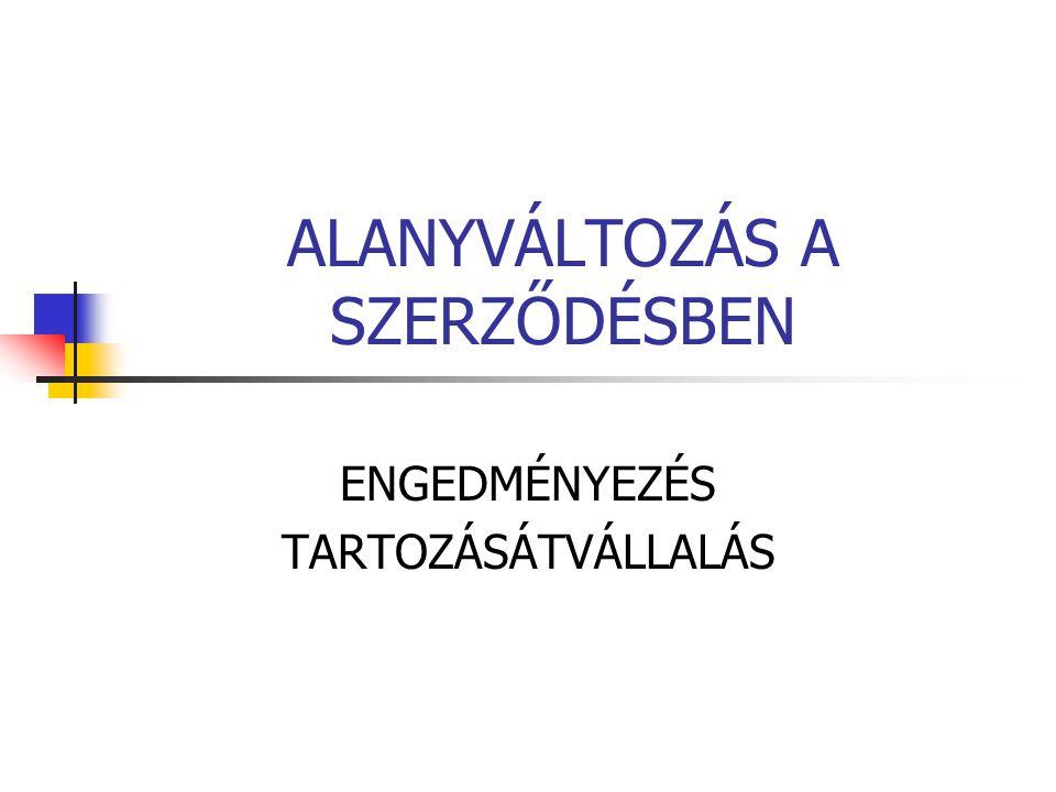 ALANYVÁLTOZÁS A SZERZŐDÉSBEN