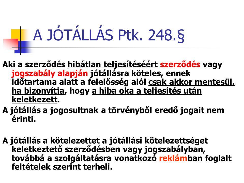 A JÓTÁLLÁS Ptk. 248.§