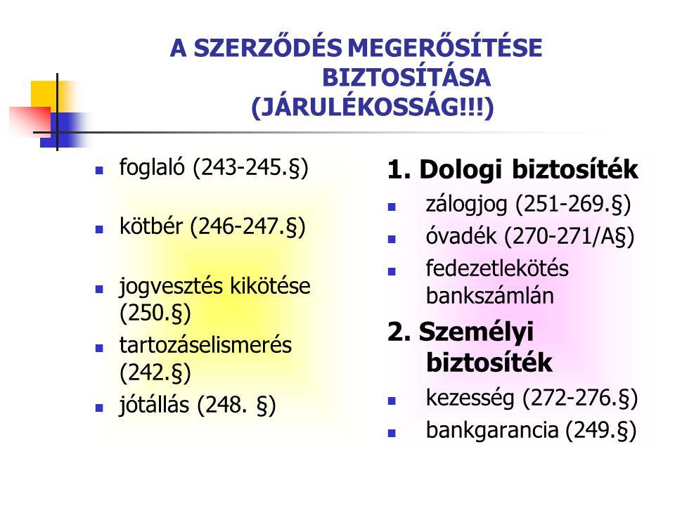 A SZERZŐDÉS MEGERŐSÍTÉSE BIZTOSÍTÁSA (JÁRULÉKOSSÁG!!!)