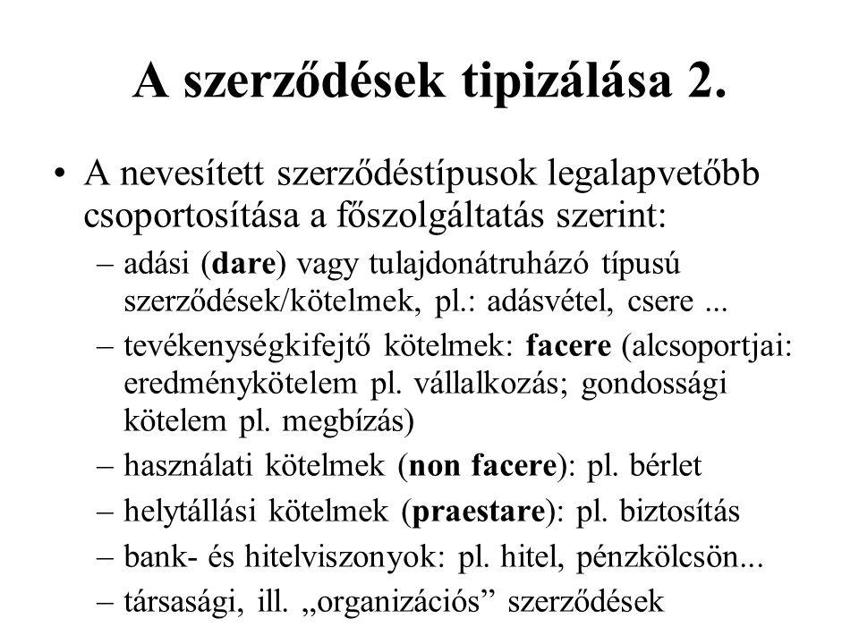 A szerződések tipizálása 2.