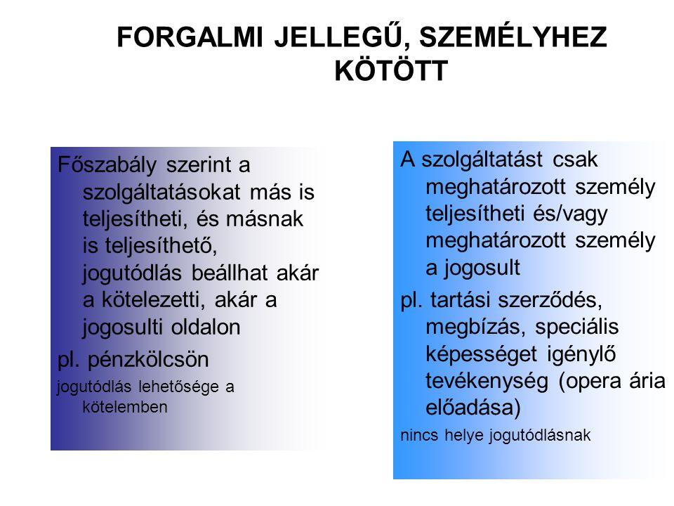FORGALMI JELLEGŰ, SZEMÉLYHEZ KÖTÖTT