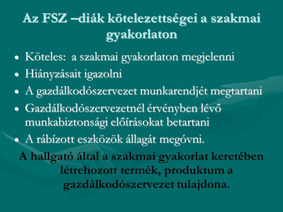 Az FSZ –diák kötelezettségei a szakmai gyakorlaton
