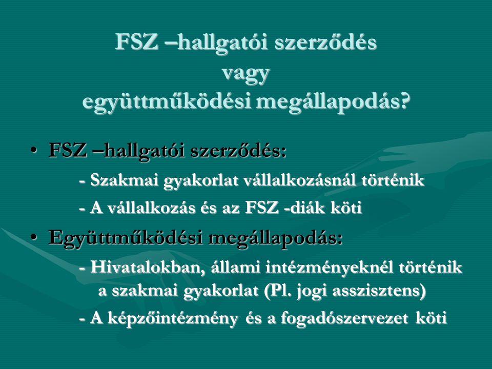 FSZ –hallgatói szerződés vagy együttműködési megállapodás