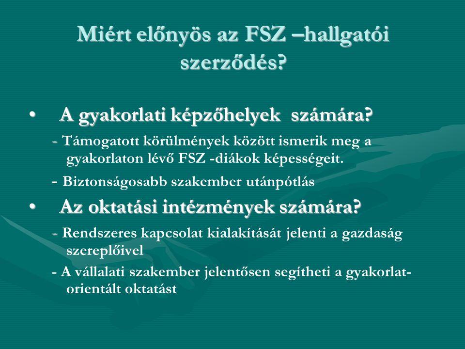 Miért előnyös az FSZ –hallgatói szerződés