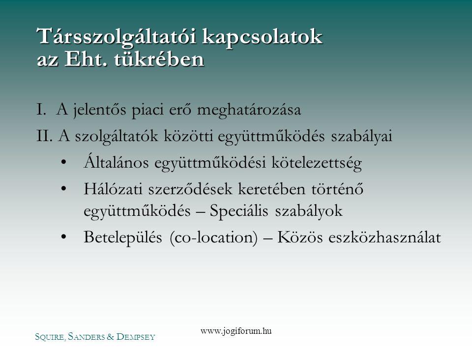 Társszolgáltatói kapcsolatok az Eht. tükrében