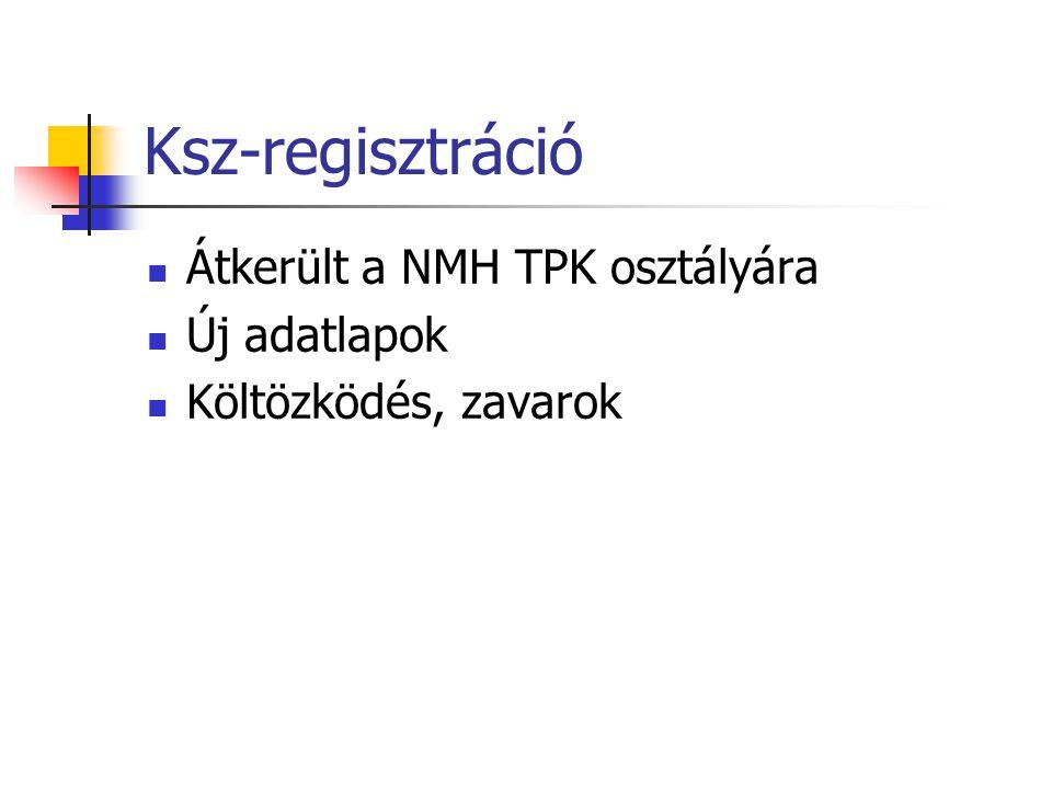 Ksz-regisztráció Átkerült a NMH TPK osztályára Új adatlapok