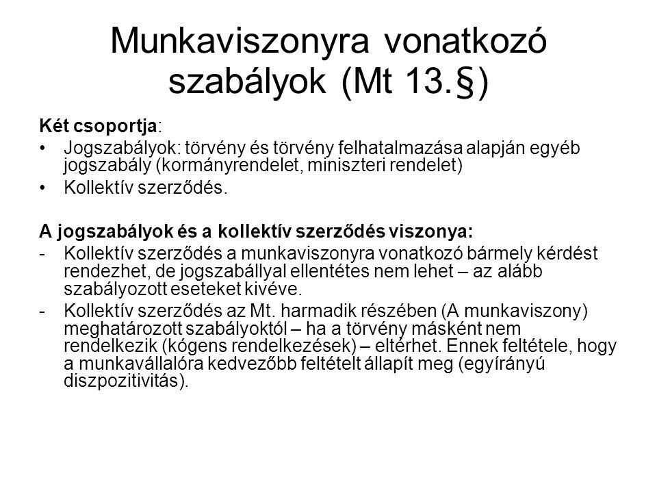 Munkaviszonyra vonatkozó szabályok (Mt 13.§)