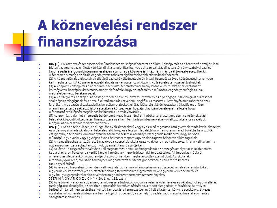 A köznevelési rendszer finanszírozása