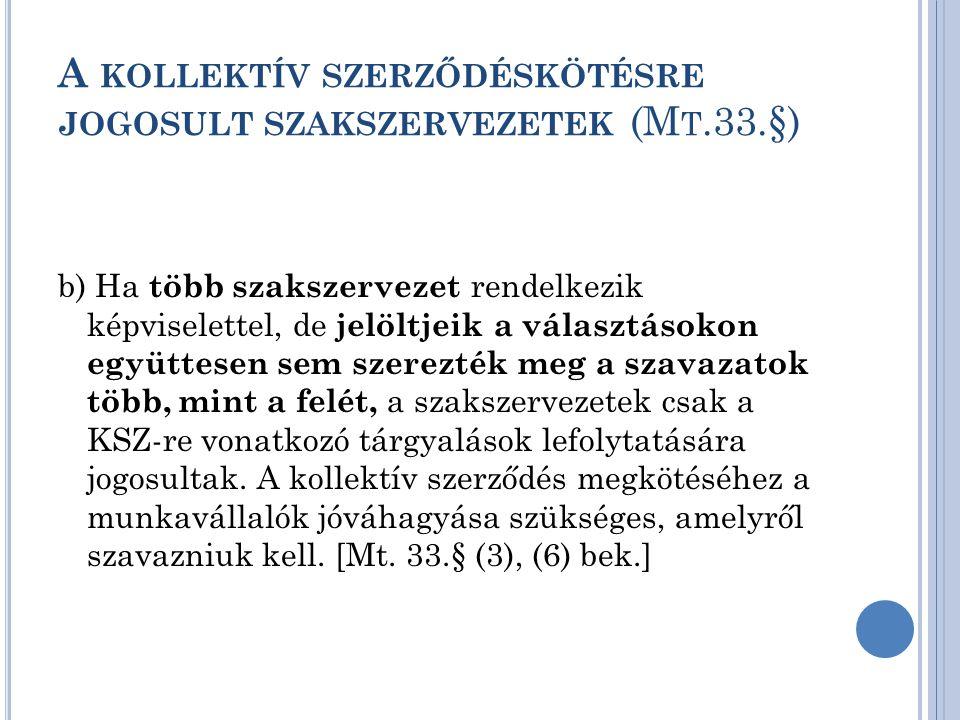 A kollektív szerződéskötésre jogosult szakszervezetek (Mt.33.§)
