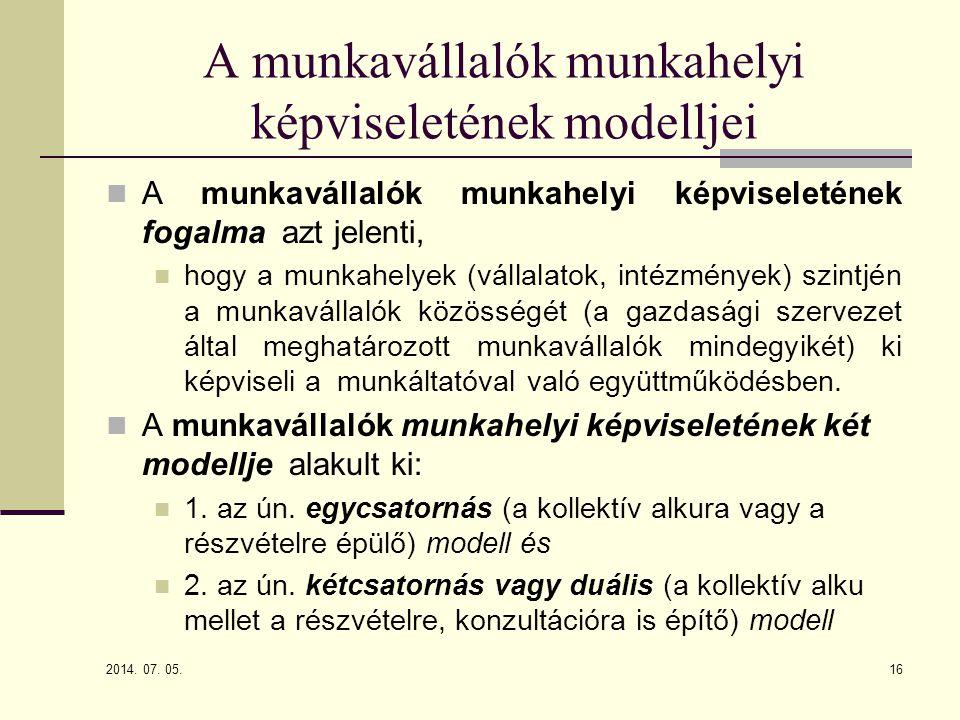 A munkavállalók munkahelyi képviseletének modelljei