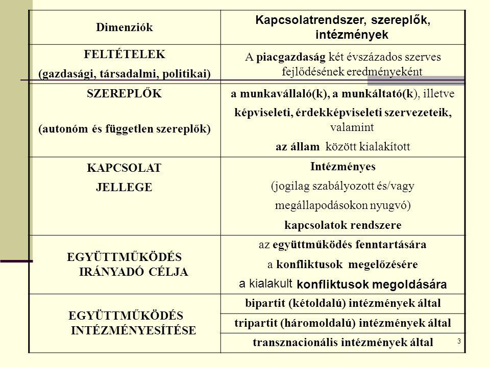 Kapcsolatrendszer, szereplők, intézmények