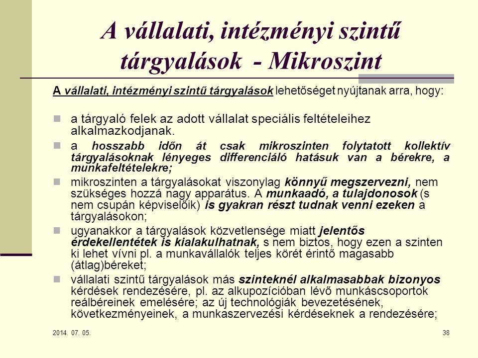 A vállalati, intézményi szintű tárgyalások - Mikroszint