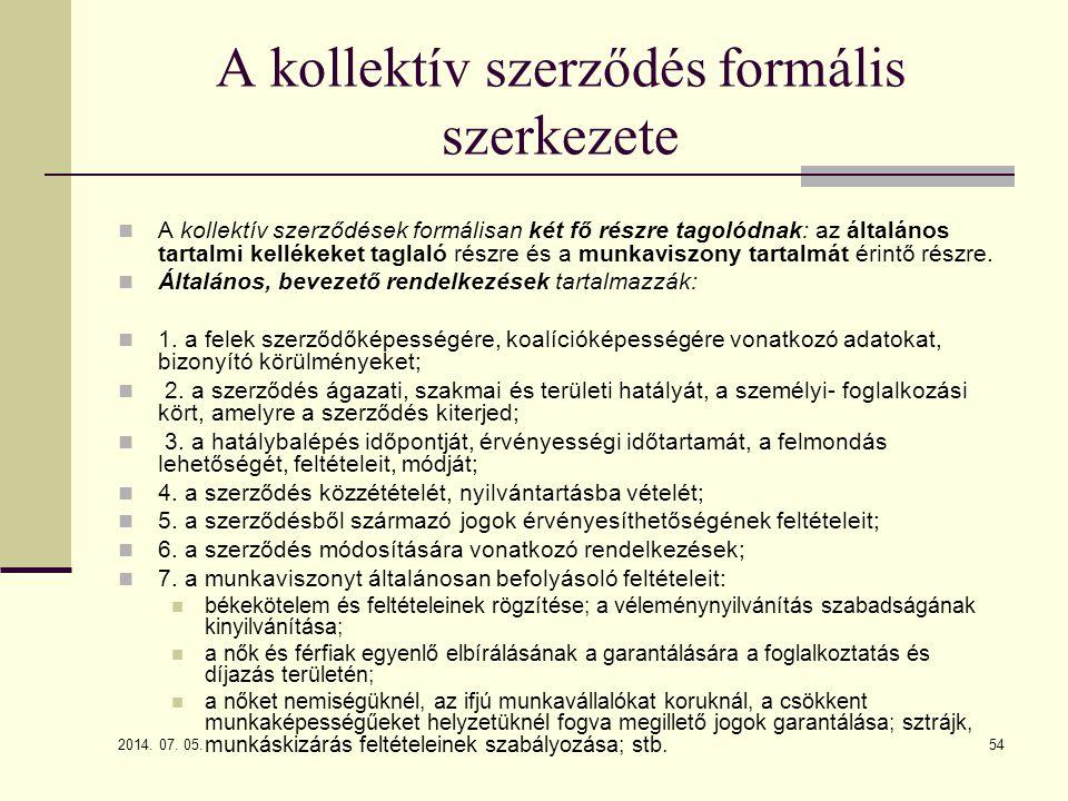 A kollektív szerződés formális szerkezete