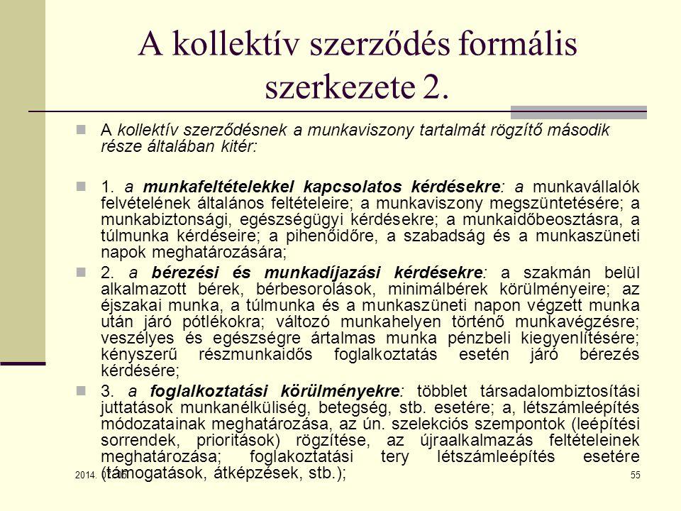A kollektív szerződés formális szerkezete 2.