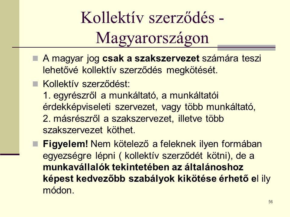 Kollektív szerződés - Magyarországon