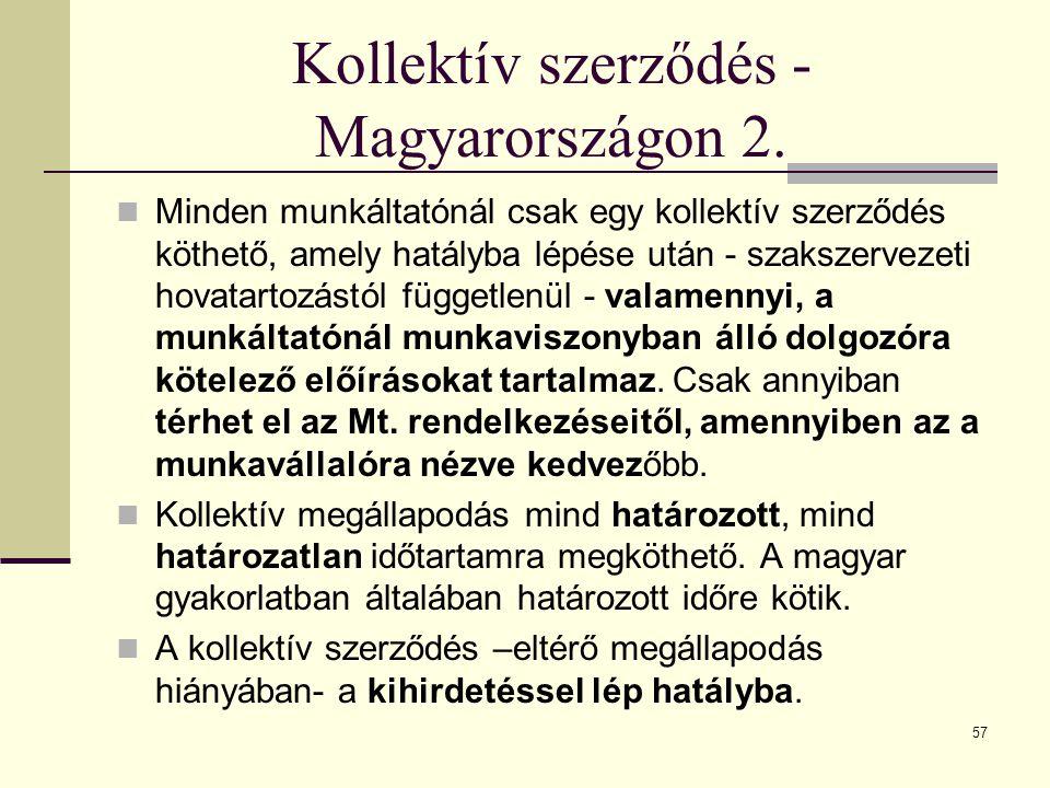 Kollektív szerződés - Magyarországon 2.