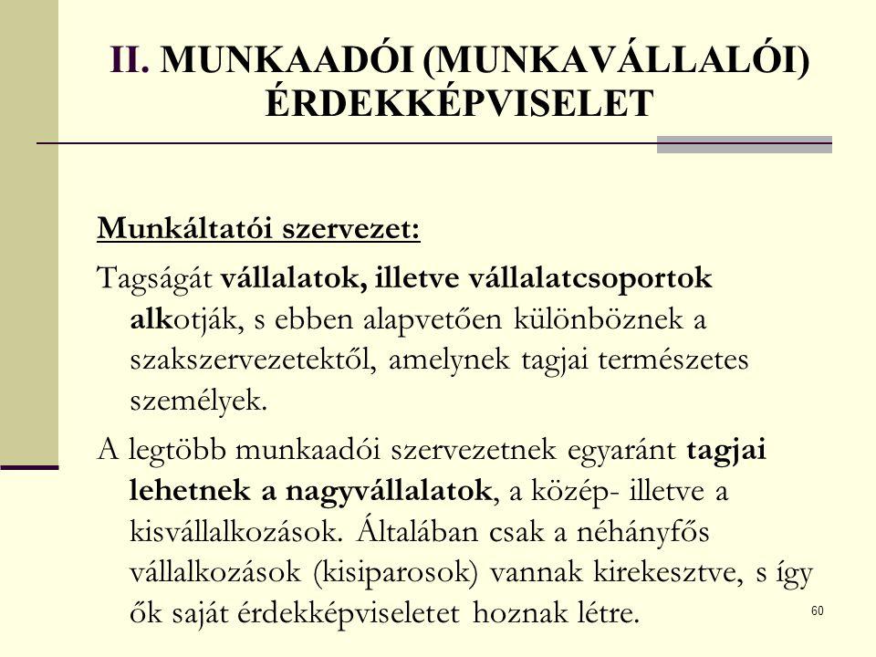 II. MUNKAADÓI (MUNKAVÁLLALÓI) ÉRDEKKÉPVISELET