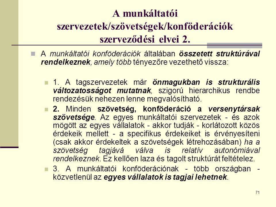 A munkáltatói szervezetek/szövetségek/konföderációk szerveződési elvei 2.