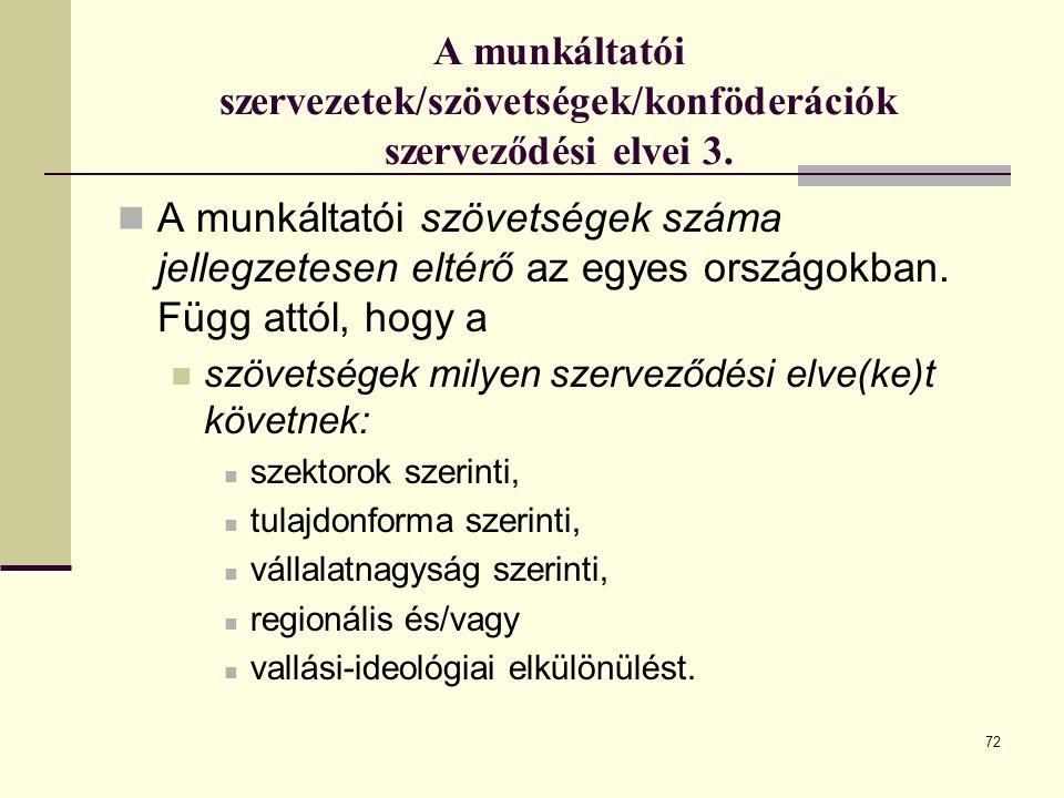 A munkáltatói szervezetek/szövetségek/konföderációk szerveződési elvei 3.