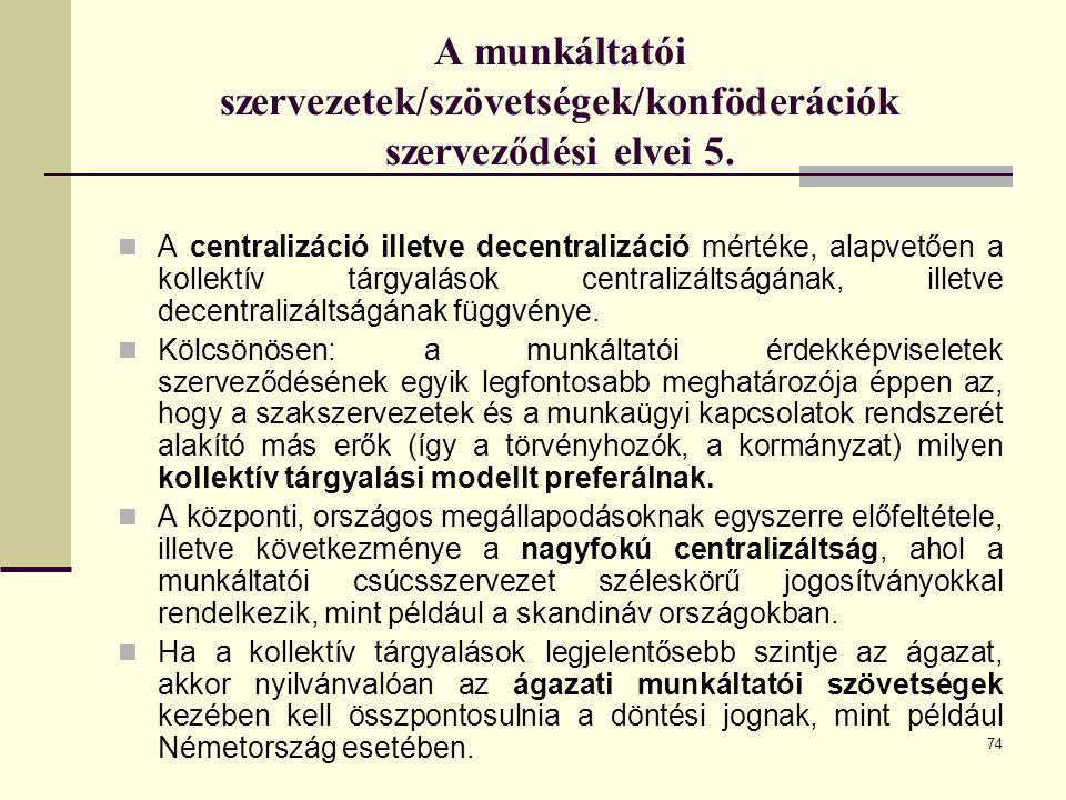 A munkáltatói szervezetek/szövetségek/konföderációk szerveződési elvei 5.