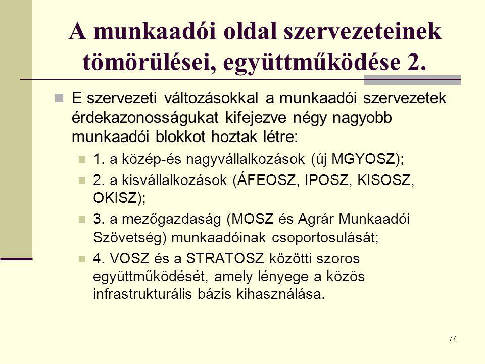 A munkaadói oldal szervezeteinek tömörülései, együttműködése 2.