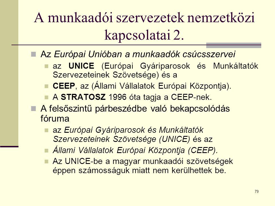 A munkaadói szervezetek nemzetközi kapcsolatai 2.
