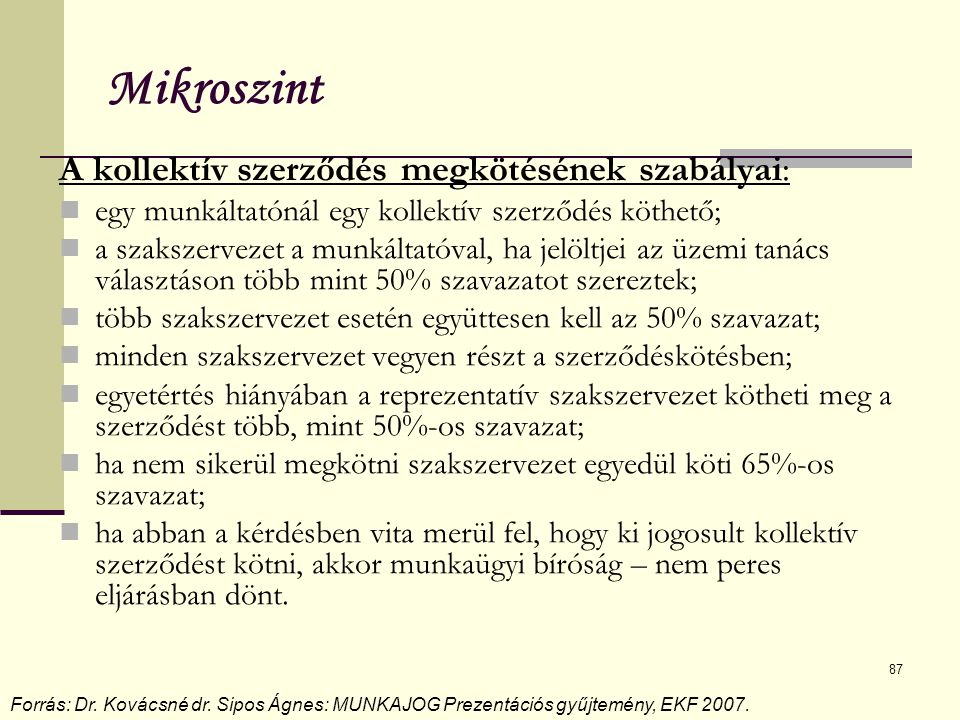Mikroszint A kollektív szerződés megkötésének szabályai: