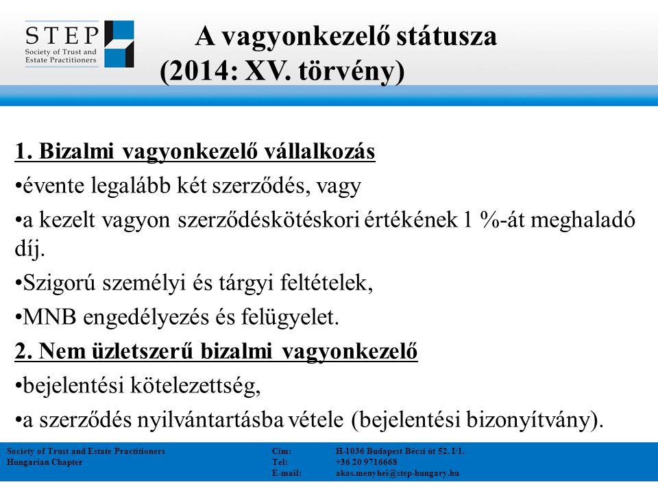 A vagyonkezelő státusza (2014: XV. törvény)