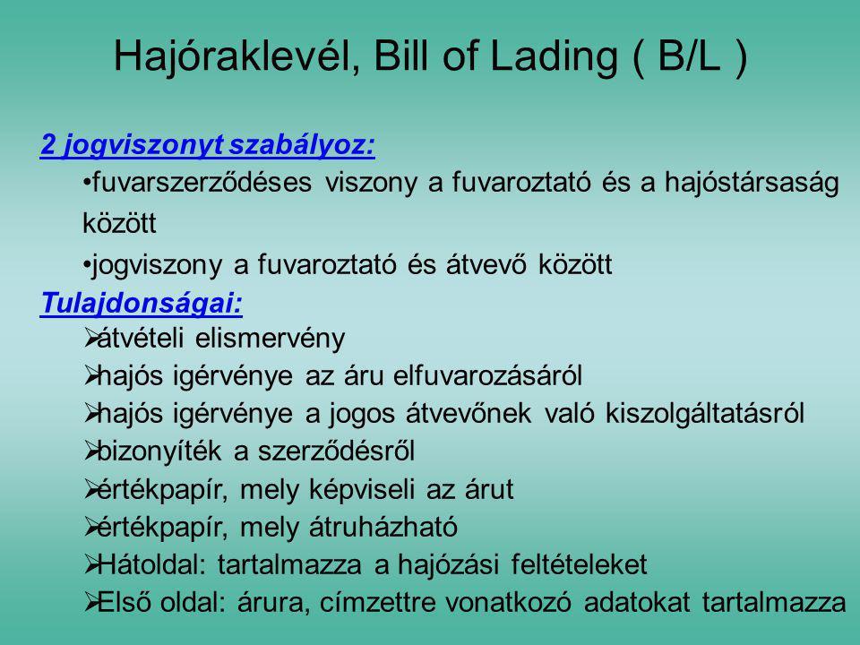 Hajóraklevél, Bill of Lading ( B/L )