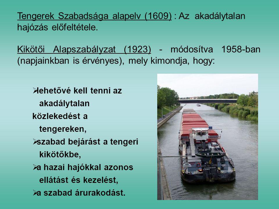 Tengerek Szabadsága alapelv (1609) : Az akadálytalan hajózás előfeltétele.