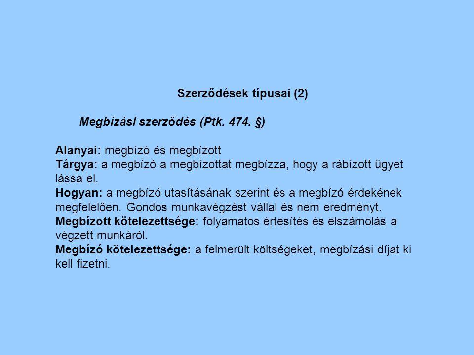 Szerződések típusai (2)