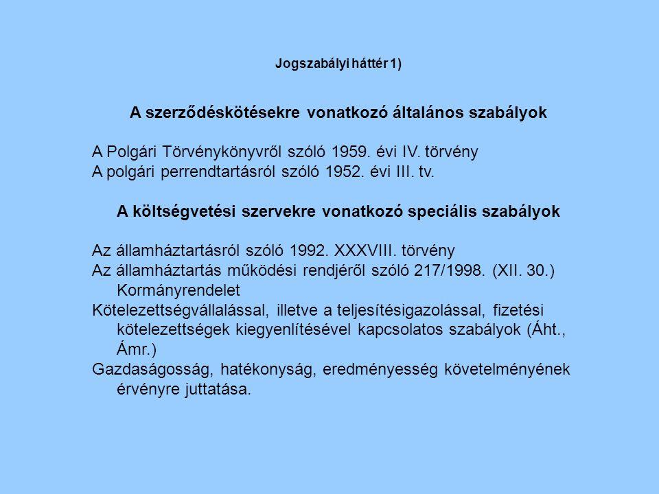 A szerződéskötésekre vonatkozó általános szabályok