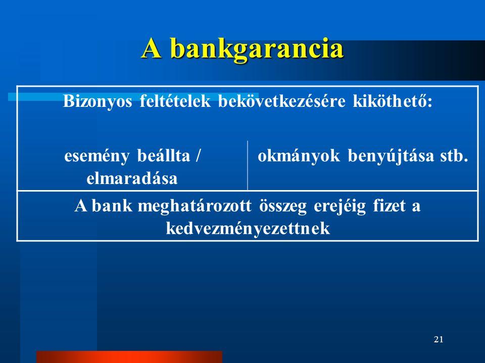 A bankgarancia Bizonyos feltételek bekövetkezésére kiköthető: