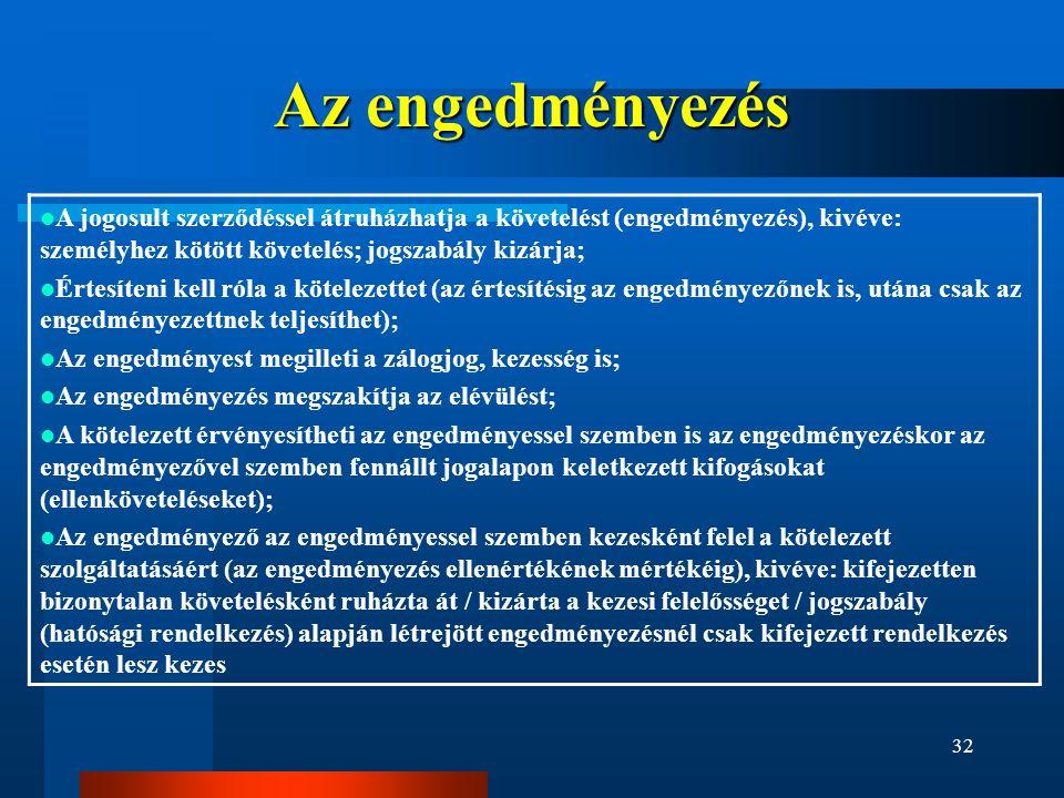 Az engedményezés A jogosult szerződéssel átruházhatja a követelést (engedményezés), kivéve: személyhez kötött követelés; jogszabály kizárja;