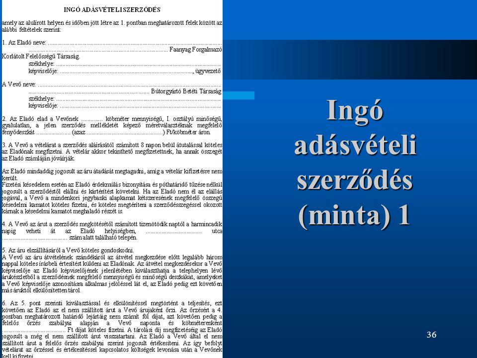 Ingó adásvételi szerződés (minta) 1