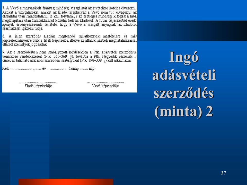 Ingó adásvételi szerződés (minta) 2