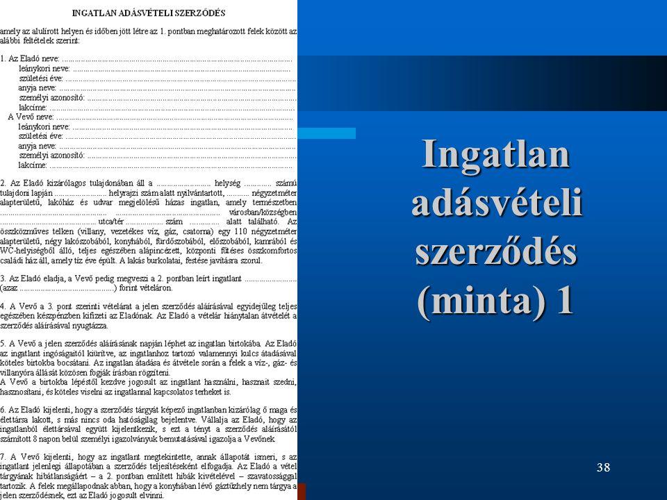 Ingatlan adásvételi szerződés (minta) 1