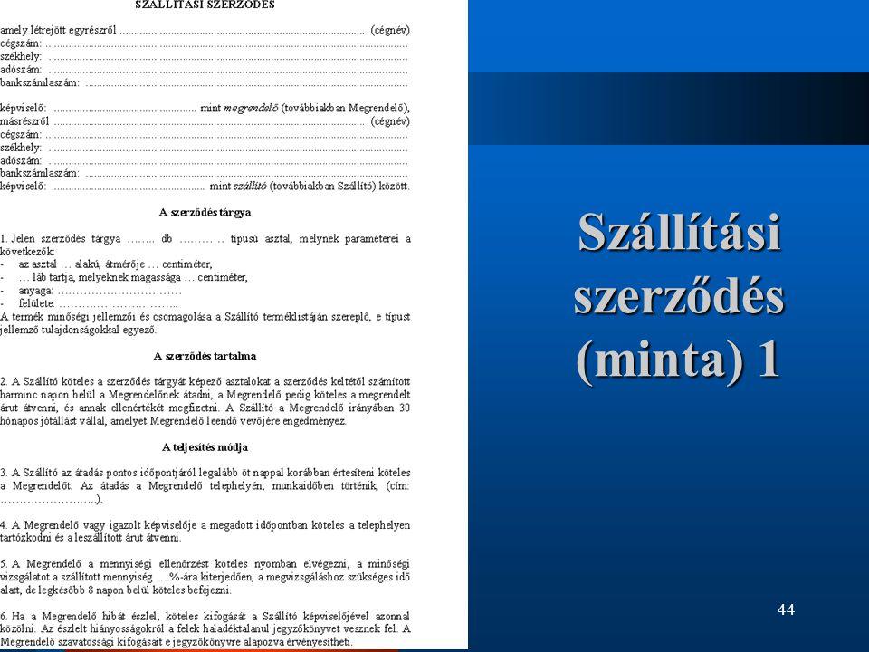Szállítási szerződés (minta) 1