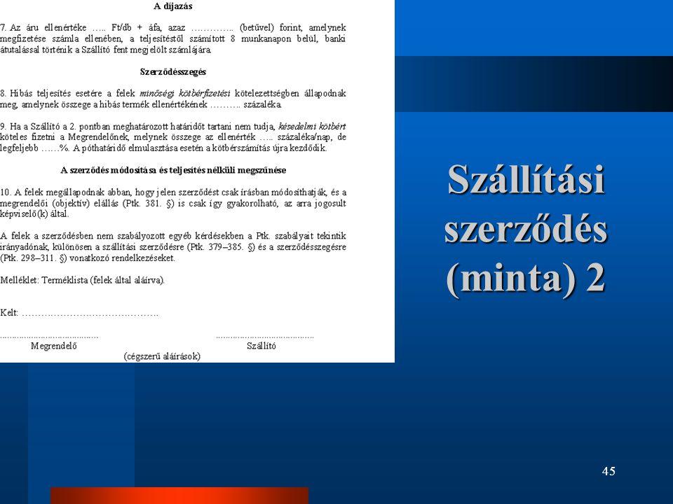 Szállítási szerződés (minta) 2