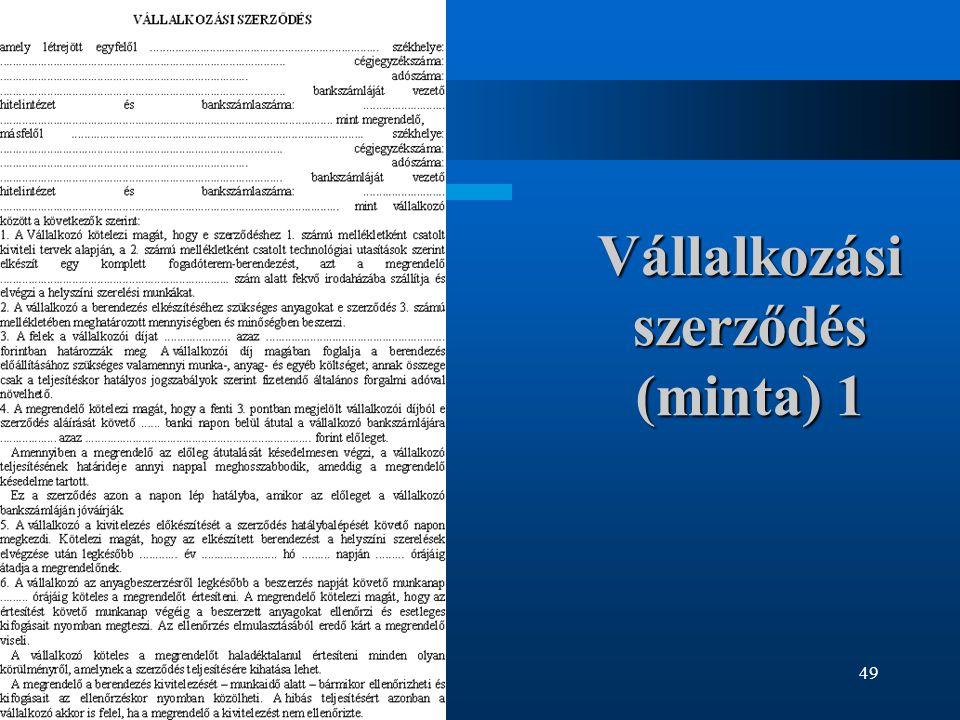 Vállalkozási szerződés (minta) 1