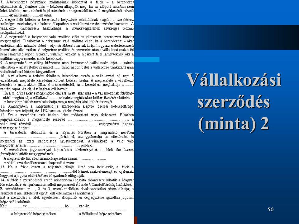 Vállalkozási szerződés (minta) 2