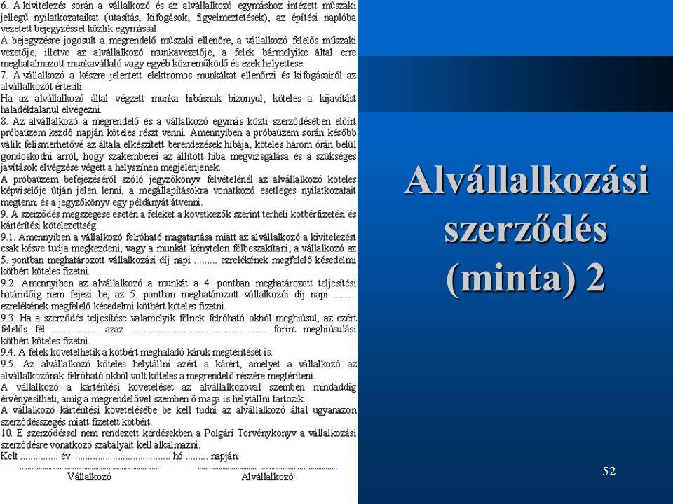 Alvállalkozási szerződés (minta) 2