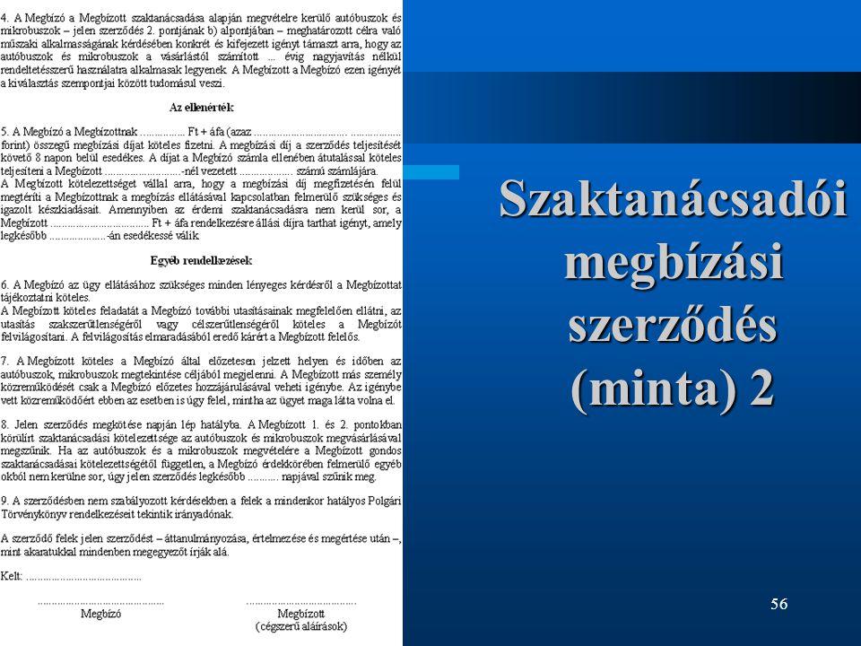 Szaktanácsadói megbízási szerződés (minta) 2