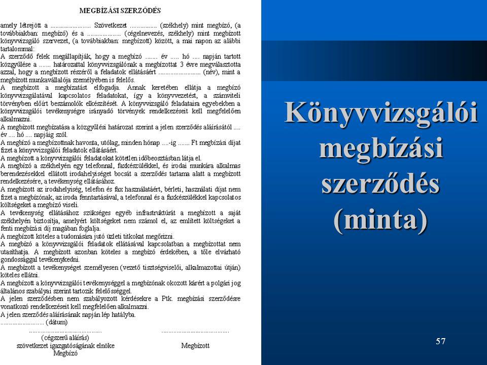 Könyvvizsgálói megbízási szerződés (minta)