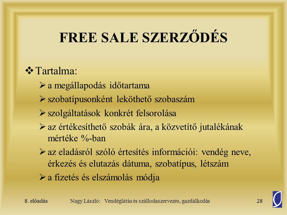FREE SALE SZERZŐDÉS Tartalma: a megállapodás időtartama